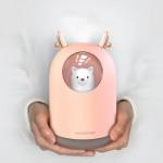 可愛萌寵USB加濕器水氧機 | 便攜300ML水箱 七彩夜燈 奈米霧化 - 粉紅色