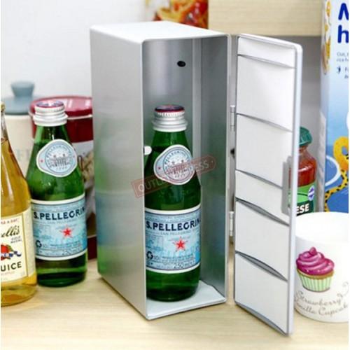 USB 冷熱兩用桌上迷你小雪櫃 | 可放兩罐飲品
