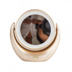 LED 雙面座枱化妝鏡 | 五倍放大美容鏡 - 金色