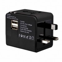 全球通用2A雙輸出USB萬用轉換插頭