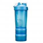 三合一專業健身濾網式搖搖杯 - 藍色 |  乳清蛋白攪拌杯 WHEY PROTEIN SHAKER