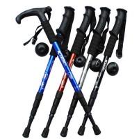 四節直柄T形彎柄伸縮式行山杖   鋁合金戶外登山杖