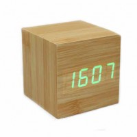 LED正方形夜光聲控木頭鬧鐘 | 溫度時間日期鬧鍾