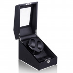 Simplewishes 2+3錶位自動上鍊自轉錶盒 - 外黑內碳皮