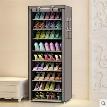 簡易十層牛津布鞋架鞋櫃 - 灰色