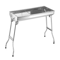 Foldable stainless steel outdoor charcoal grill with 6-8 people (floor-standing)