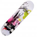 成人楓木入門級雙翹滑板 | 街頭花式滑板 - 粉白色城市