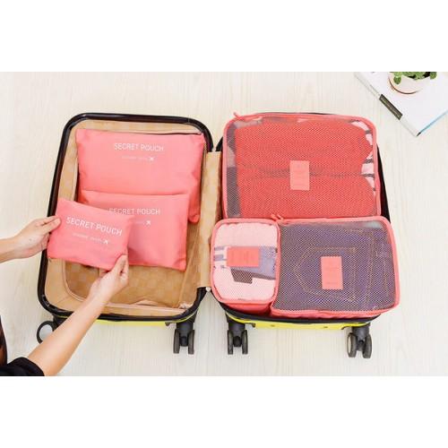 旅行收納袋套裝   一套六件 - 藍色