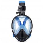 THENICE 全乾式防霧浮潛面罩   可裝Gopro運動相機 - 藍色細碼【 限時優惠 】