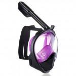 THENICE 全乾式防霧浮潛面罩 | 可裝Gopro運動相機 - 黑紫大碼【 限時優惠 】