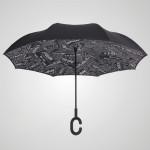 C柄免持雙層反向雨傘 - 黑色文字款