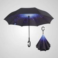 C柄免持雙層反向雨傘
