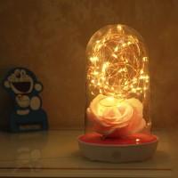 玻璃罩夜燈香皂花