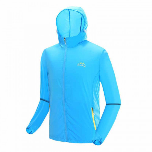 戶外防曬降溫風扇衣服 | 夏日消暑空調長袖風衣 冷凍衣 - 藍色XXXL碼