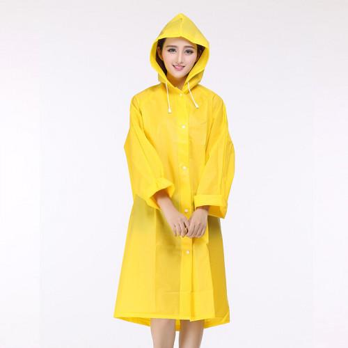 韓款加厚EVA磨砂成人雨衣 | 防水衣 - 黃色