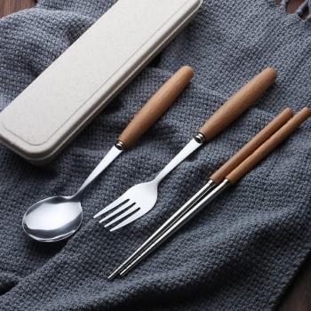 Japanese wooden handle stainless steel cutlery set | chopsticks fork spoon soup spoon