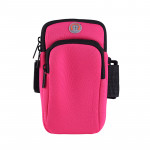 6寸拉鏈款運動手機臂袋   跑步專用防汗臂包 - 桃紅色