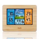 FanJu LCD 竹面室內外天氣報告鬧鐘 | 溫濕度及氣壓檢測  帶無線室外感測器