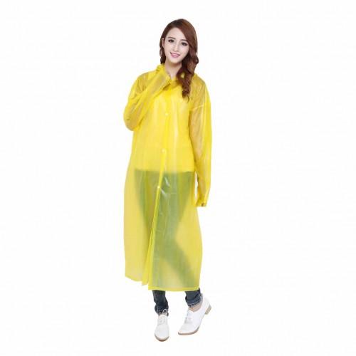 EVA 鈕扣輕便雨衣 - 黃色