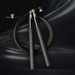 鋁合金手柄鋼絲跳繩 | 萬向軸承 健身用高速花式跳繩 - 黑色