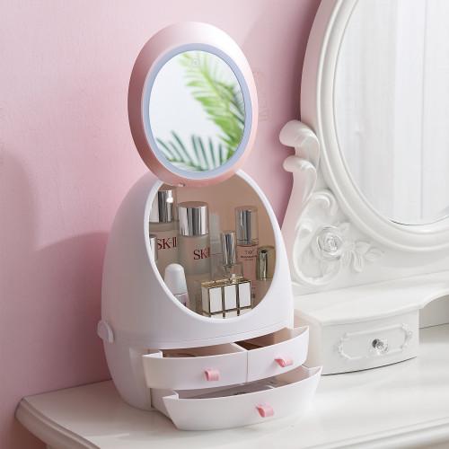 LED燈補光化妝鏡化妝品收納盒 | 化妝補光 | 護膚品收納盒