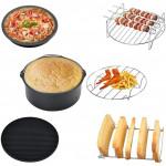 空氣炸鍋配件六件套(7吋) | 炸鍋 披薩盤 串燒烤架 矽膠鍋墊 蒸架