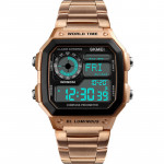SKMEI 時刻美多功能防水運動電子錶 |  指南針 計步運動  - 玫瑰金