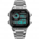 SKMEI 時刻美多功能防水運動電子錶 |  指南針 計步運動  - 銀色