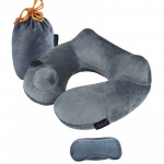 DENOR 按壓式充氣旅行護頸枕 | 護頸U形記憶枕 - 灰色