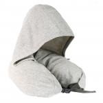 日式帶帽多功能頸枕 | 旅行午睡枕u型枕 - 灰色