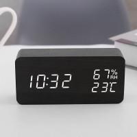 YP015 LED時尚木質數字鬧鐘   溫濕度顯示床頭鐘 - 黑色