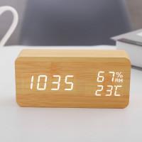 YP015 LED時尚木質數字鬧鐘   溫濕度顯示床頭鐘 - 木色
