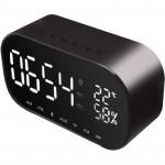 YAYUSI S2 LED鏡面藍牙音箱床頭鬧鐘   時尚藍牙喇叭 金屬外殼 - 黑色