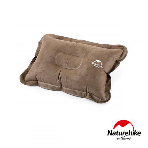 Naturehike 輕量便攜折疊式麂皮絨充氣枕頭 (NH15A001-L) | 露營充氣枕 - 棕色