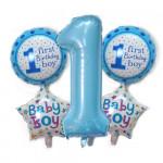 寶貝1周歲生日派對氣球裝飾 | 40寸數字加18寸圓形心形