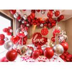天作之合婚慶婚房裝飾氣球組合套裝 | 10寸石榴紅乳膠氣球新房臥室佈置