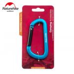 NatureHike 8cm D型鋁合金掛鉤登山扣 (NH15A001-H) | 多功能快掛背包安全鑰匙扣 - 藍色