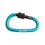 NatureHike 6cm D型帶鎖鋁合金登山扣 (NH15A005-H) | 多功能安全扣掛鉤快掛鑰匙扣 - 藍色