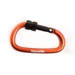 NatureHike 6cm D型帶鎖鋁合金登山扣 (NH15A005-H) | 多功能安全扣掛鉤快掛鑰匙扣 - 橙色