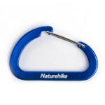 NatureHike 6.5cm D型鋁合金登山扣兩隻裝 (NH15A002-H)  | 多功能掛鉤快掛鑰匙扣  - 藍色