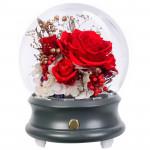圓球玻璃罩永生玫瑰花藍牙音箱 - 女王紅