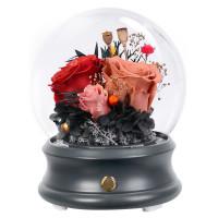 圓球玻璃罩永生玫瑰花藍牙音箱 - 三色款