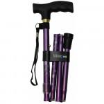 銀適四段摺合式拐杖 - 紫色 - 碎花