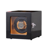 Y0100G 單錶位立式自動上鍊自轉錶盒 - 外黑內棕