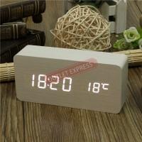 LED長方形夜光聲控木頭鬧鐘 | 溫度時間日期鬧鍾