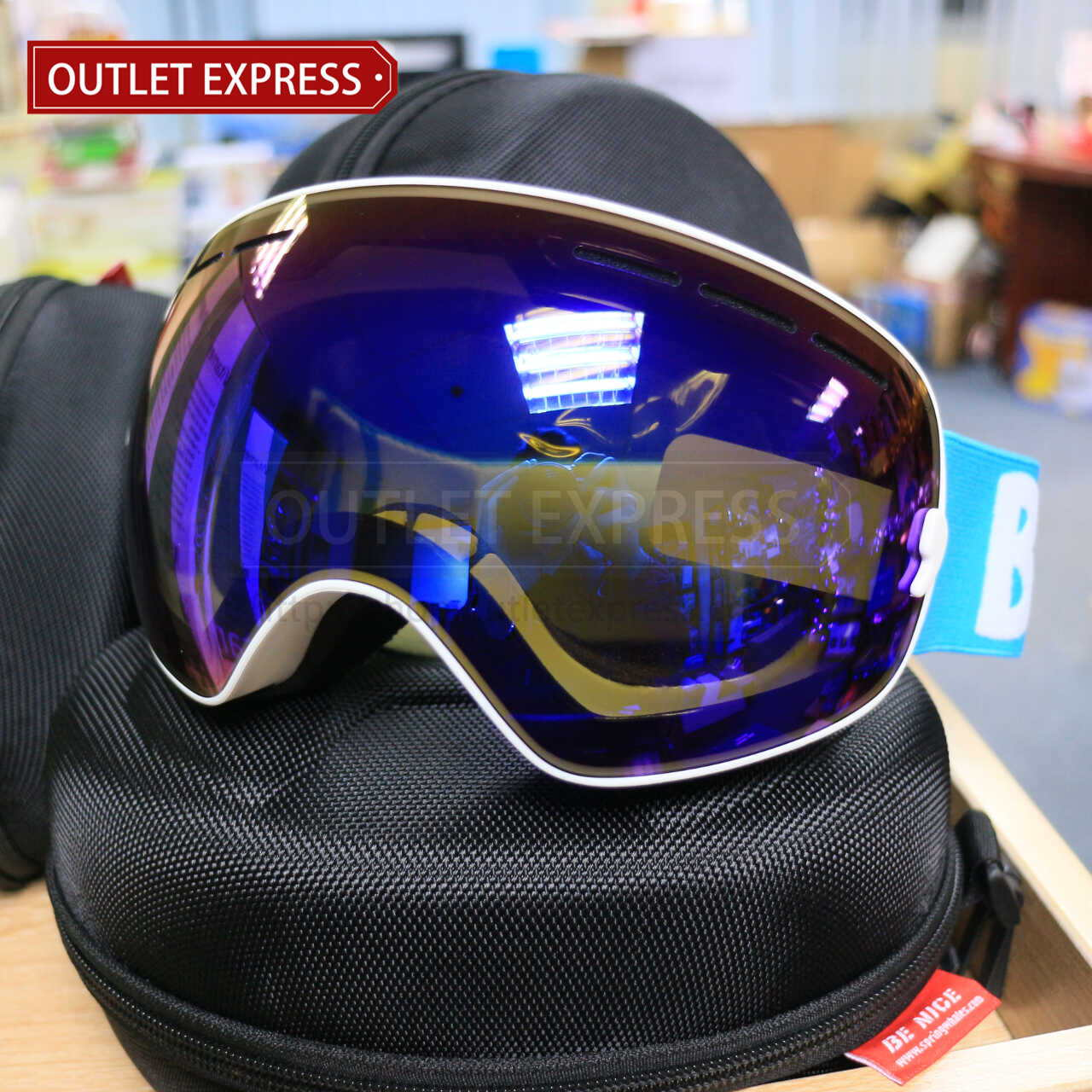 BENICE 大球面雙層防霧滑雪鏡 | 可配合眼鏡用 藍色-Outlet Express HK生活百貨城實拍相片