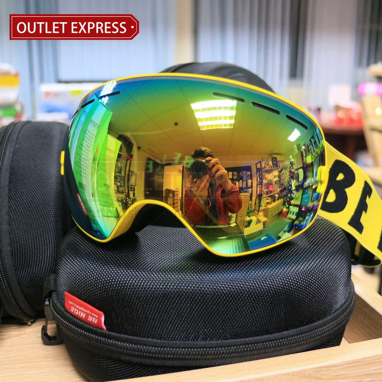 BENICE 大球面雙層防霧滑雪鏡 | 可配合眼鏡用 黃色 -Outlet Express HK生活百貨城實拍相片