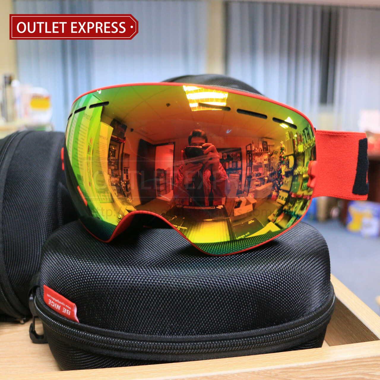 BENICE 大球面雙層防霧滑雪鏡 | 可配合眼鏡用 紅色-Outlet Express HK生活百貨城實拍相片