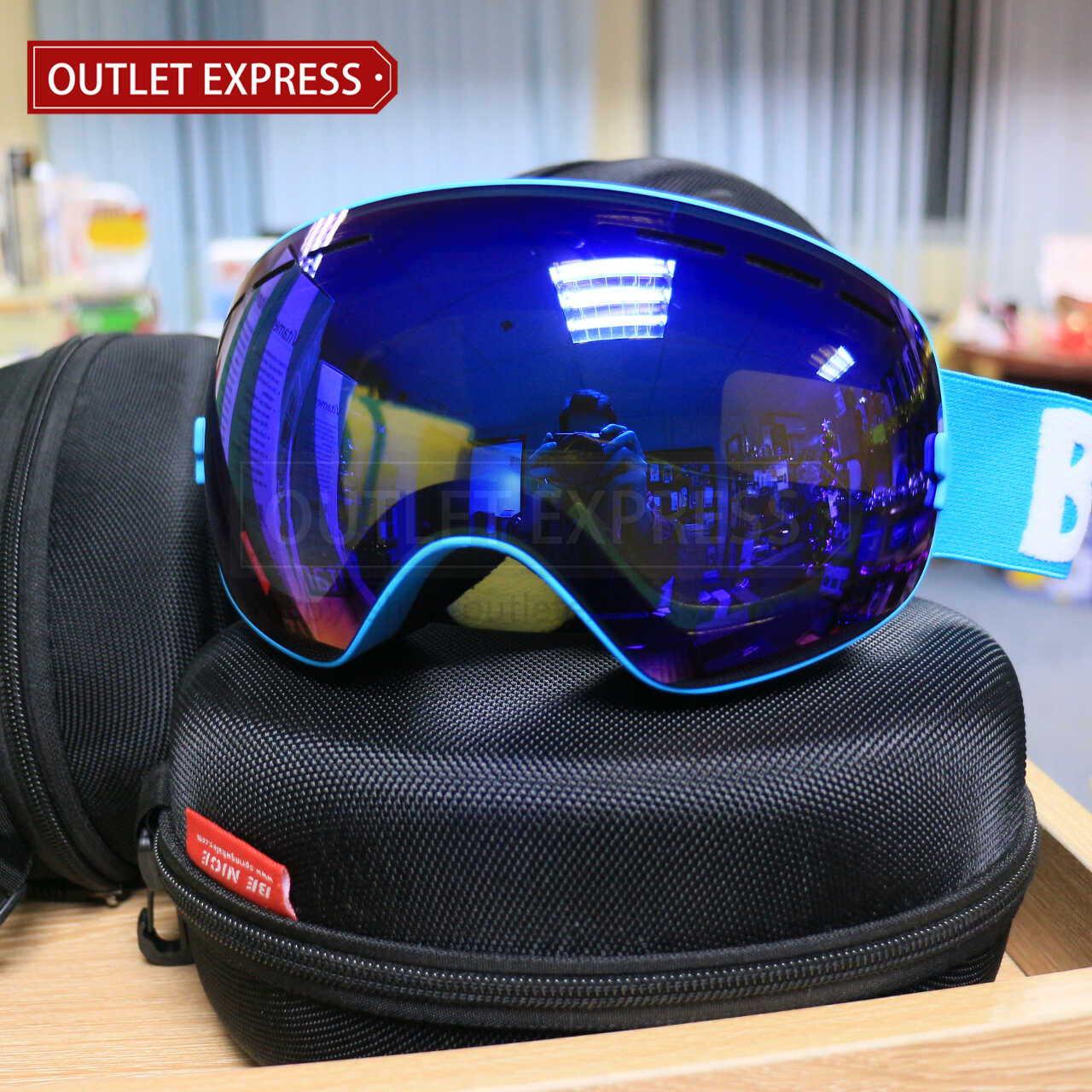 BENICE 大球面雙層防霧滑雪鏡 | 可配合眼鏡用 藍色 -Outlet Express HK生活百貨城實拍相片