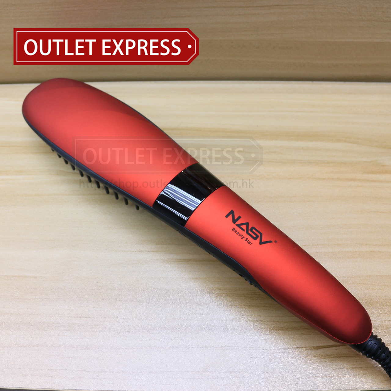 NASV-300 負離子直髮梳 紅色 - Outlet Express HK 生活百貨城實拍相片